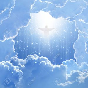 18075255-Jesus-Christ-in-blue-sky-with-white-clouds-and-falling-stars-heaven-easter-Stock-Photo